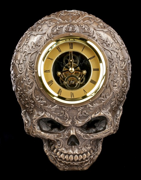 Skull Wall Clock - Baroque Death
