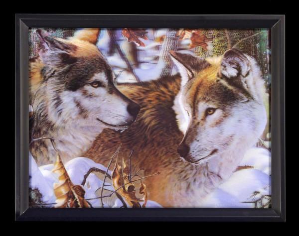 3D-Bild im Rahmen - Wölfe im Winterwald
