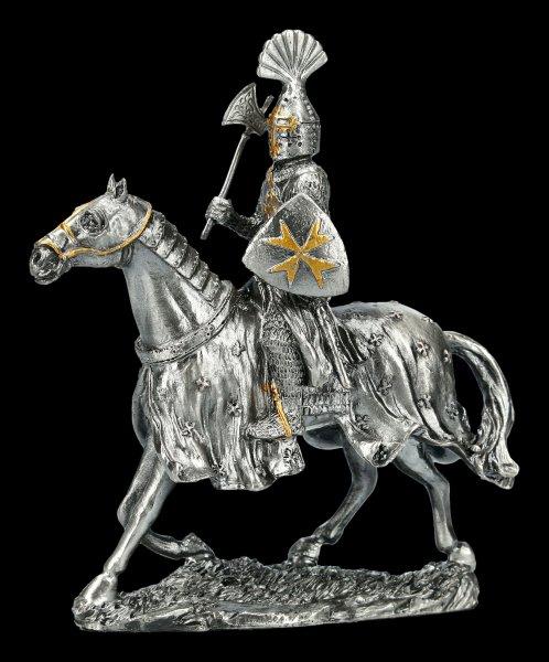 Zinn Ritter Figur mit Pferd - Malteser