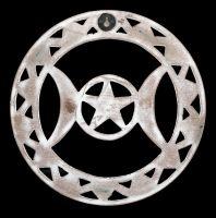 Wall Ornament - Triple Moon Wood white