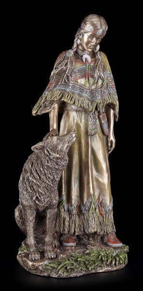 Indianer Figur mit Wolf - Native Connection