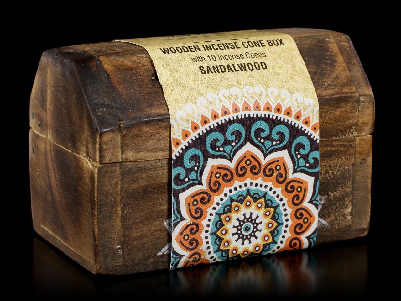 Wooden Incense Cone Box - Sandalwood