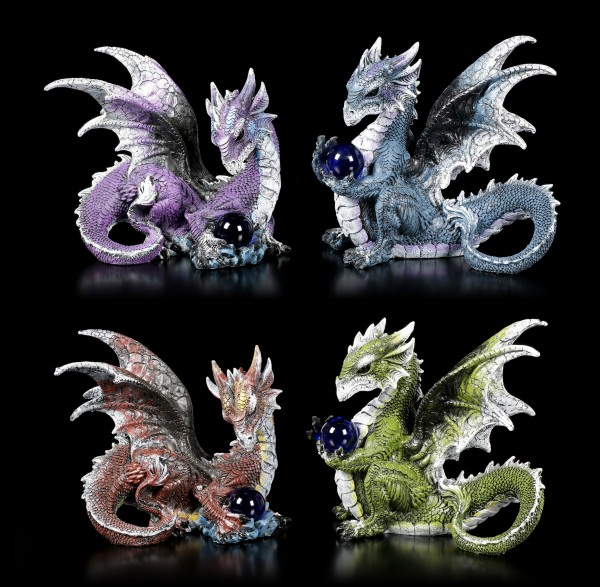 Colored Dragon Figurines with Glass Ball - Set of 4