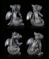 Small Black Dragon Figurines - Set of 4