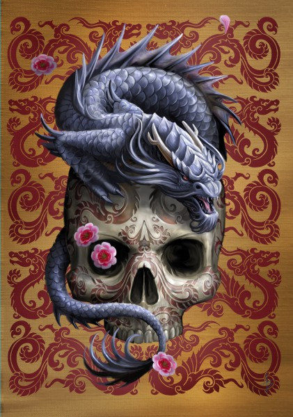 Greeting Card with Skull - Oriental Dragon