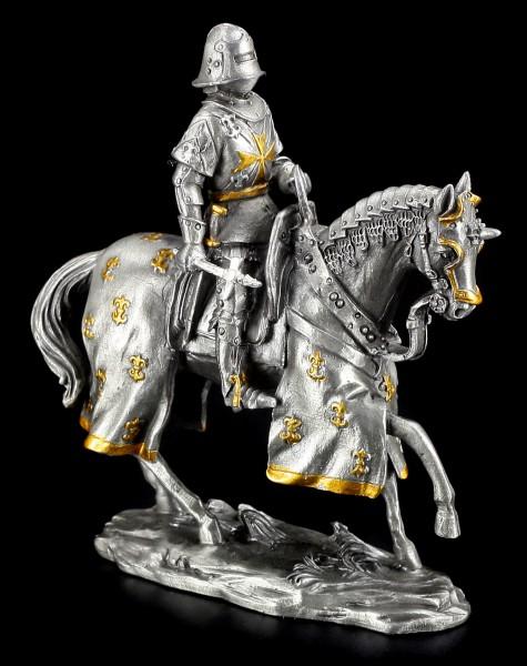 Zinn Ritter Figur - Deutscher mit Axt und Pferd