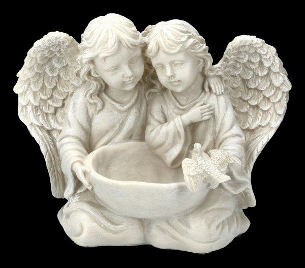 Garden Figurine - Angels Couple with Bird Bath
