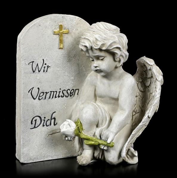 Engel Grab Figur mit Rose - Wir Vermissen Dich