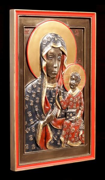 Wandrelief Ikone - Schwarze Madonna von Tschenstochau