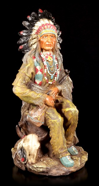 Indian Figurine - Chief sitting with Peace Pipe