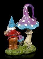 Gartenzwerg Figur mit Pilz und Schnecke