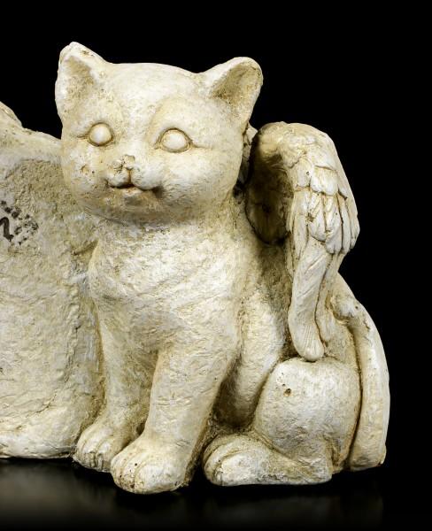 Katzen Engel Figur neben Grabstein
