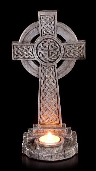 Teelichthalter - Keltisches Kreuz mit Ornamenten