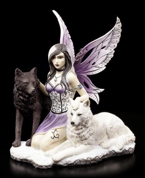 Elfen Figur mit Wölfen - Ebony und Ivory