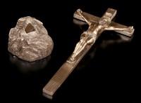 Kruzifix mit Fels - Jesus am Kreuz