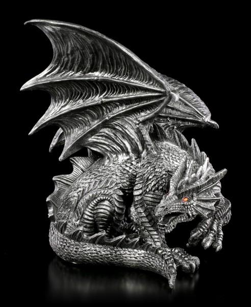 Drachen Figur mit roten Augen - Obsidian