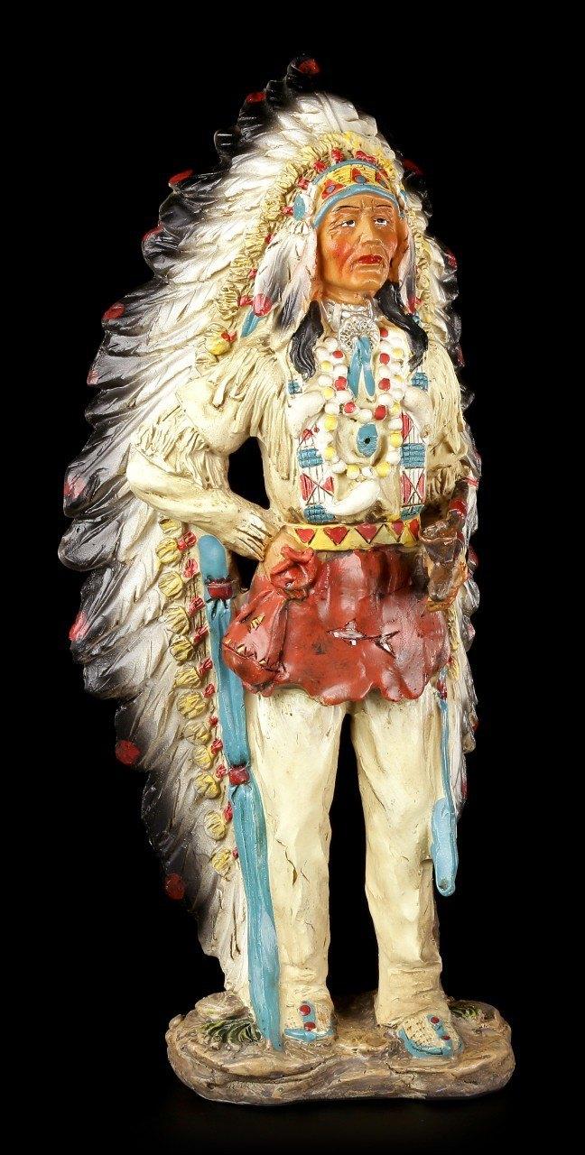 Indianer Figur - Häuptling stehend mit Friedenspfeife