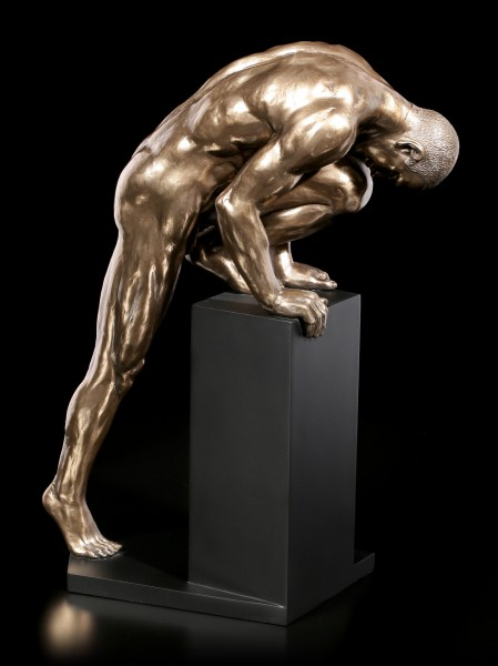 Male Nude Figurine - Climbing on Pedestal - large