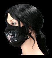 Gesichtsmaske Horror - Mund mit Reißverschluß