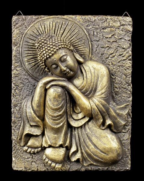 Goldfarbenes Buddha Wandrelief