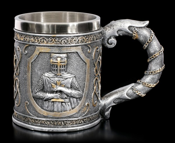 Tankard - Crusader holds Sword - silver colored
