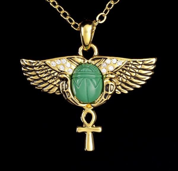 Ägyptische Halskette - Geflügelter Skarabäus mit Ankh