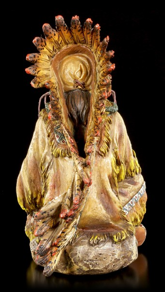 Indian Figurine - Sitting Chief with Peace Pipe