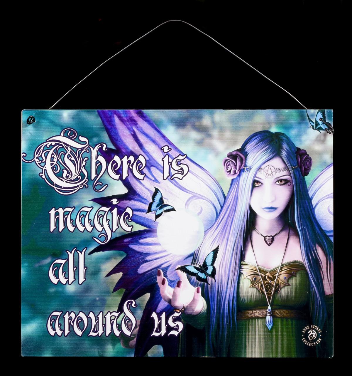 Mystic Aura Metall Schild mit Elfe - There is magic all around us