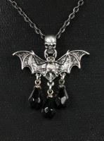 Halskette - Totenkopf mit Fledermaus