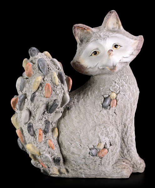 Garden Figurine - Sitting Fox in Stone Look