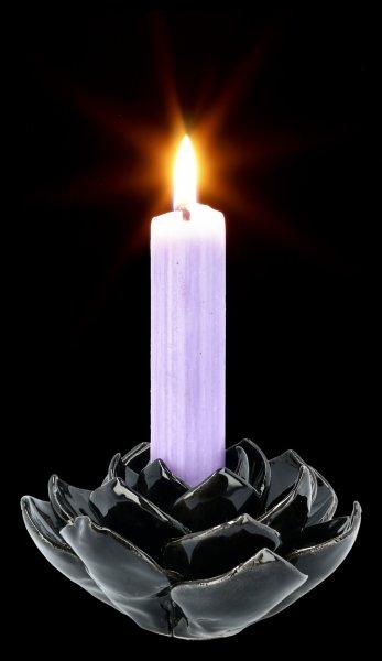 Kerzenhalter - Schwarze Keramik Rose