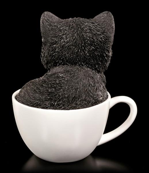 Katzen Figur - Schwarz-weißes Kätzchen in Tasse