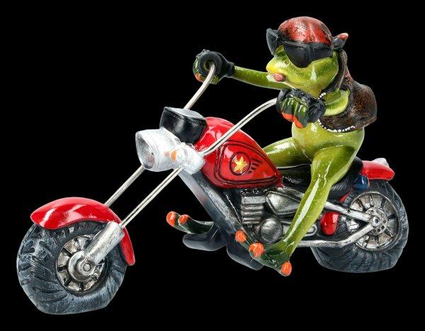 Funny Frog Figurine on Motorcycle