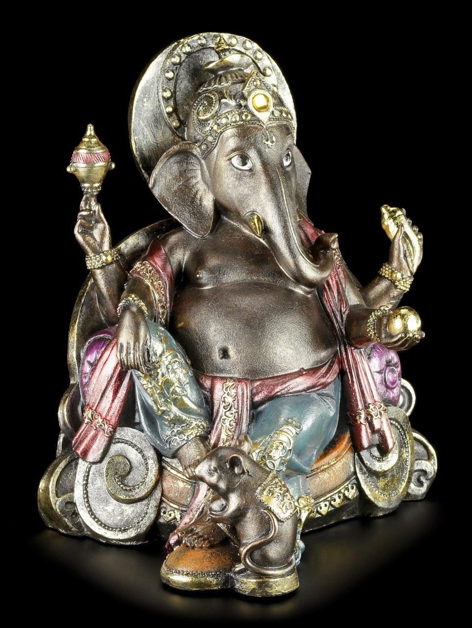 Ganesha Figur - Hindu Gottheit mit Goldkugel