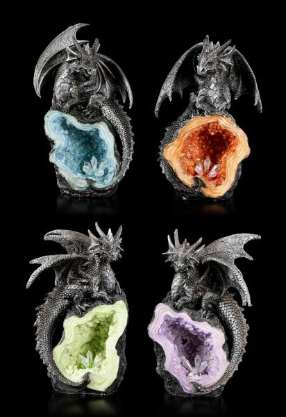 Drachen Figuren auf Kristallen - 4er Set