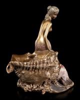 Jugendstil Schale - Meerjungfrau sitzt bei Muschel