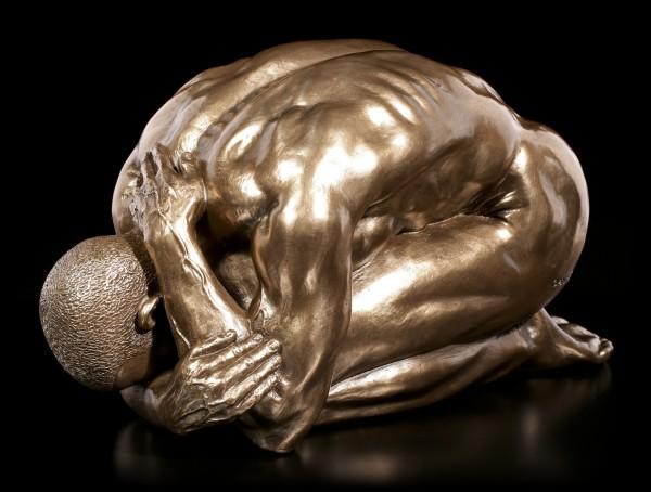 Male Nude Figurine - Kneeling on the Ground - large