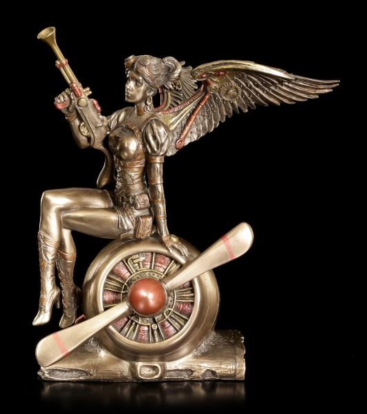 Steampunk Angel Figurine - Warrior on Propeller