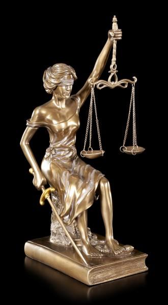 Sitzende Justitia Figur - Göttin der Gerechtigkeit