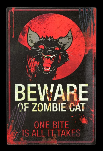 Metall Schild - Zombie Cat