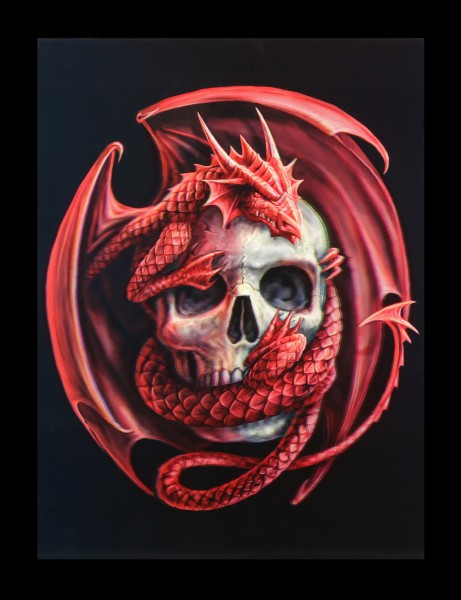 3D-Picture - Dragon and Skull by Anne Stokes