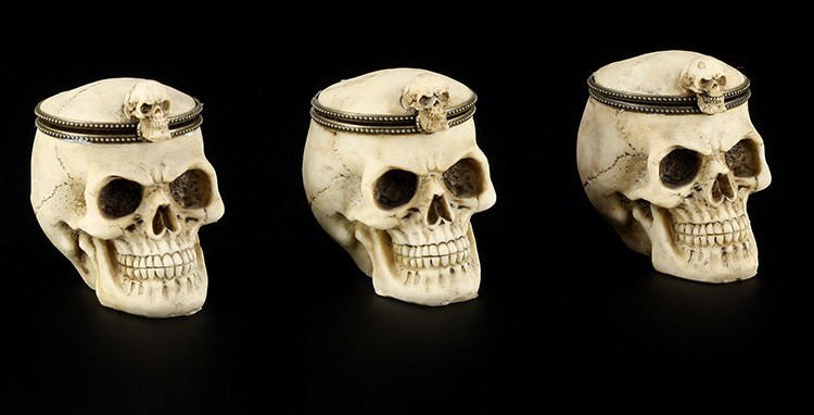 Skulls Set of 3 with Flap Lid