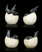 Dragon Figurines - 4 Babies hatching from Egg - black