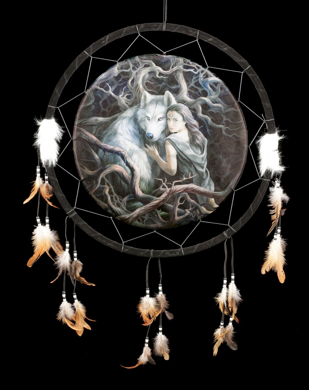 Large Dreamcatcher with Wolf - Soul Bond