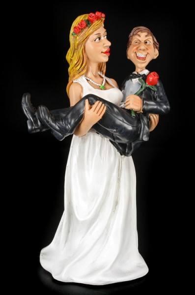Braut trägt Bräutigam - Lustige Brautpaar Figur