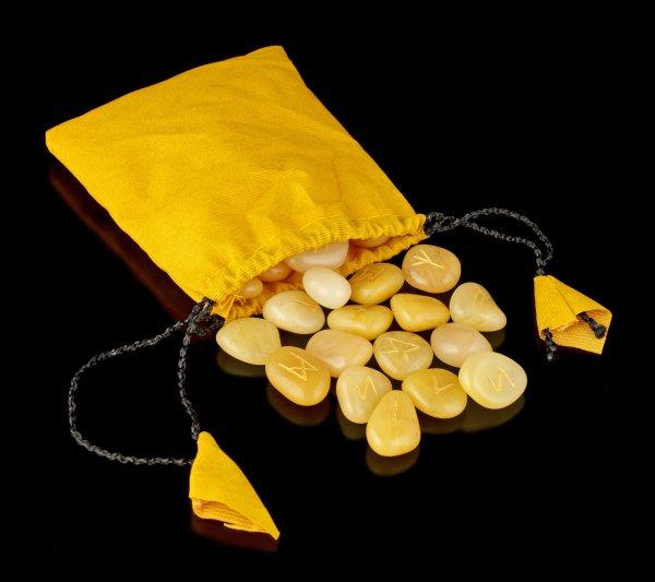 Runen Steine aus Goldquarz mit Beutel
