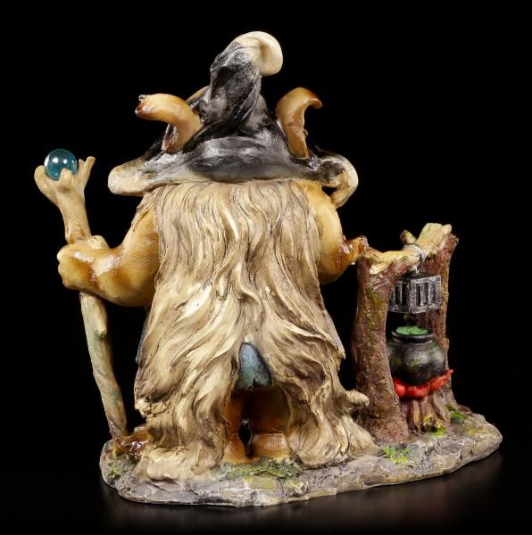 Troll Figur - Hexe mit Stab und Zauberkessel