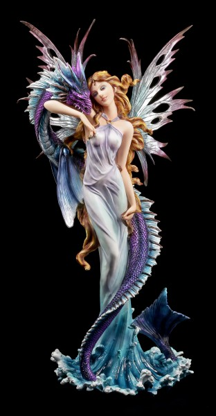 Large Fairy Figurine with Sea Dragon