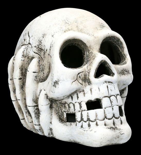 Totenkopf mit Teelicht-Beleuchtung