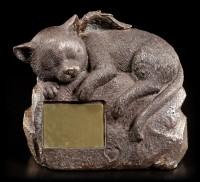 Tier Urne - Katzen-Engel auf Stein mit Gravurplatte